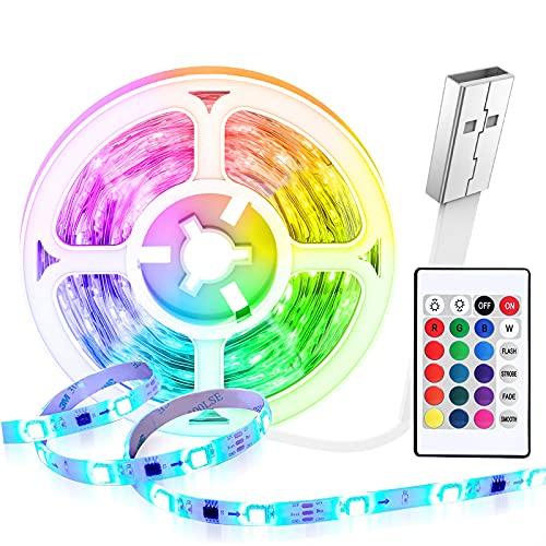 Tiras LED 5 Metros USB,HEERTTOGO Luces LED Habitacion RGB 5050 con Control Remoto,16 Colores y 4 Modos de Escena Se Utiliza para el Hogar, TV,Dormitorio, Decoración de Gabinetes, Fiesta
