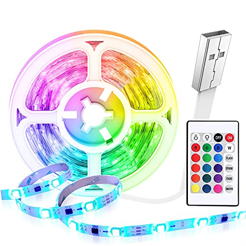 Tiras LED 5 Metros USB, HEERTTOGO Luces LED Habitacion RGB 5050 con Control...