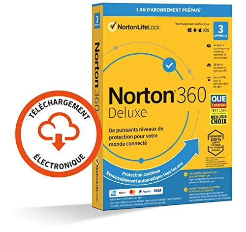 Norton 360 Deluxe 2021 | 3 Appareils | Antivirus, Sécurité Internet, Gestion Mots de Passe, Protection Webcam, Contrôle Parental, VPN, 25 GO Stockage Cloud | 1 An | PC/Mac/Android/iOS