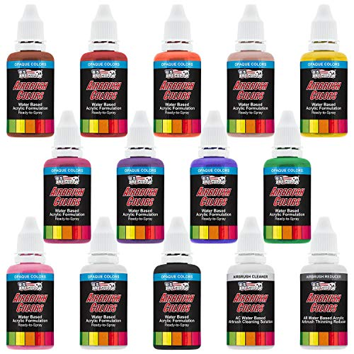 U.S. ART SUPPLY Acrylic Airbrush Paint Set