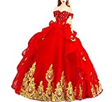 Off Shoulder Sweet 16 Prom Ball Gown Beaded Cosplay Princess Quinceanera Dresses Red US4