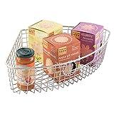 "mDesign Farmhouse Metal Kitchen Cabinet Lazy Susan Storage Organizer Basket with Front Handle - Medium Pie-Shaped 1/4 Wedge, 4.2"" Deep Container - Satin"