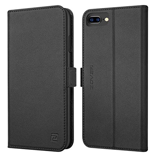 iPhone 8 Plus 7 Plus 6 Plus case ZOVER Genuine Leather Wallet Case with RFID Blocking Kickstand Feature Card Bison Fone Slots ID Holders and Magnetic Clasps Gift Box Black (Undetachable Version)