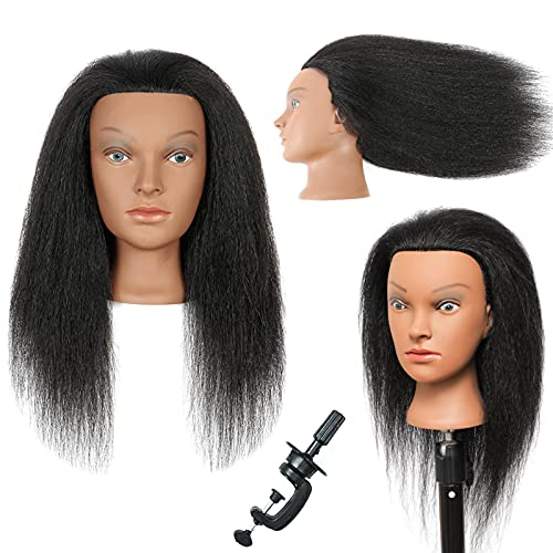 Mannequin Head with Human Hair Manikin Head 100% Real Hair Training Head Cosmestology Doll Head Hairdresser Practice Head for Hair Braiding Hair Styling with Free Clamp Stand Mannequins Head (D2-M16)