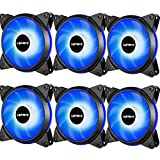 upHere 6-Pack 120mm 3-Pin High Airflow Quiet Edition Blue LED Case Fan for PC Cases, CPU Coolers, and Radiators T3BE3-6