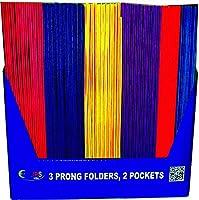 AUKSales 2ポケットフォルダー プロング付き カラー、ディスプレイ、100個入りケース、まとめ買いに最適。