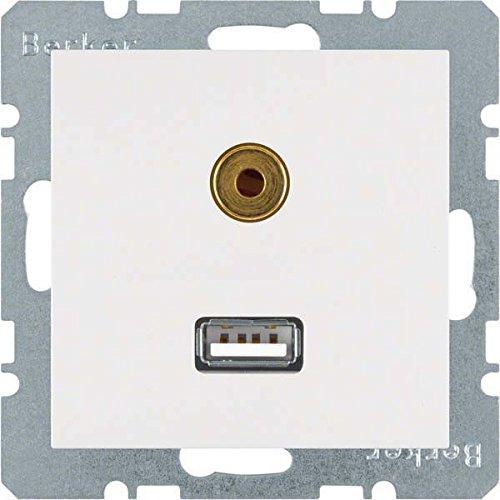 Berker stopcontact USB / 3,5 mm Audio 3315398989 polarwit glanzend B.1;B.3;B.7;S.1 inzet/afdekking voor communicatietechniek 40113341611
