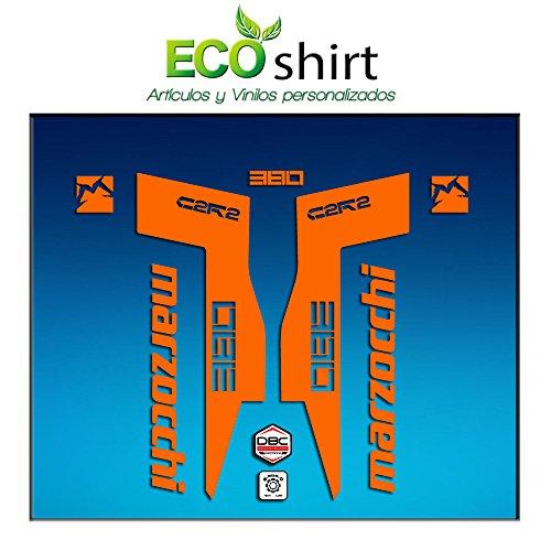 Ecoshirt T4-J46D-MT88 Autocollants Fork Marzocchi 380 C2Rc Am71 Aufkleber Decals Autocollants Fourche Gabel Fourche Orange