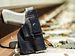 OutBags USA LS74006 (Black-Right) Full Grain Heavy Leather IWB Conceal Carry Gun Holster for S&W Smith & Wesson 4006 .40S&W. Handcrafted in USA.