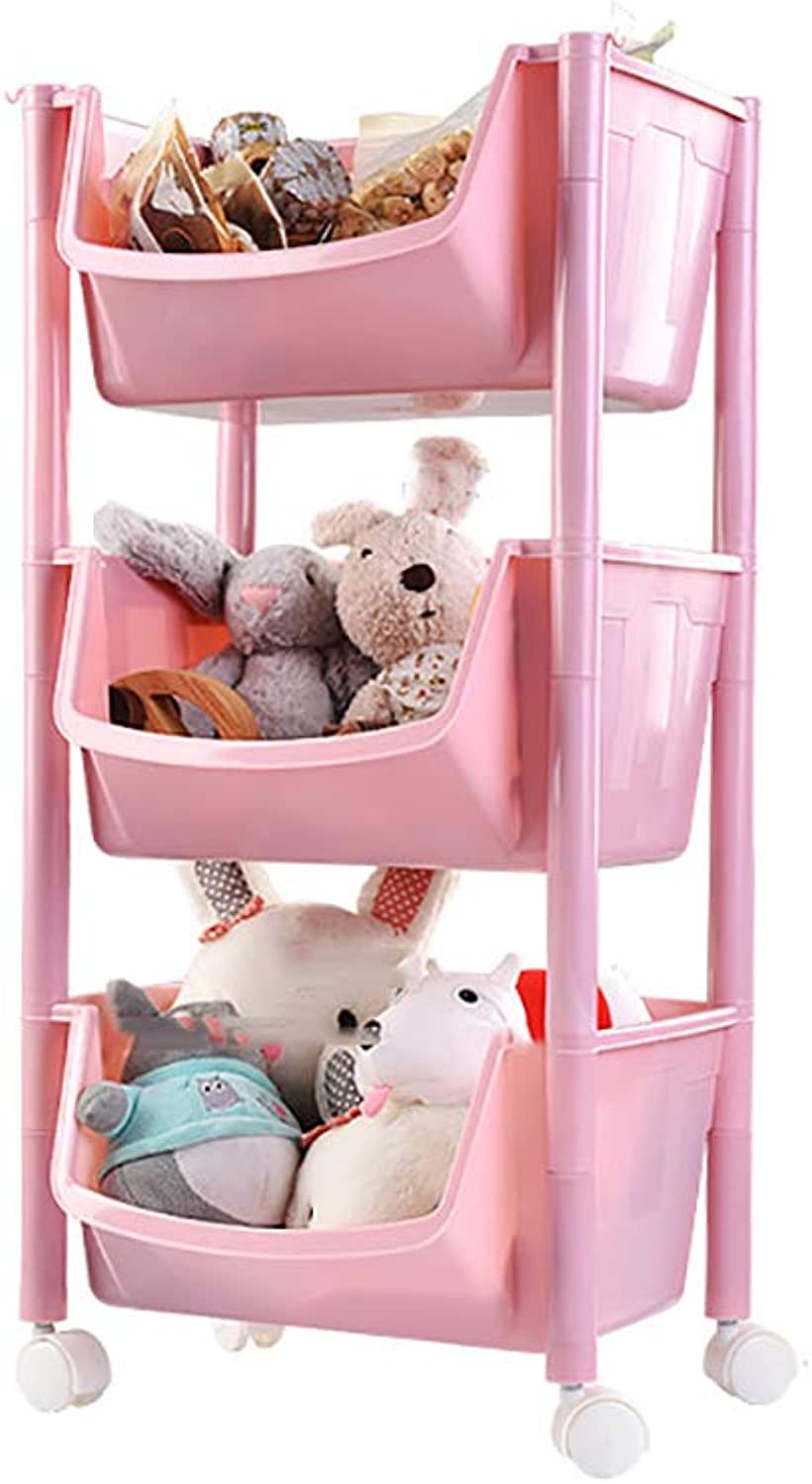 3 4 Tier Kitchen Storage Trolley with Wheels Plastic Fruit Vegetable Rack for Bathroom Multifunction Organizing Pink (Size   35.5  29.5  64.5cm)