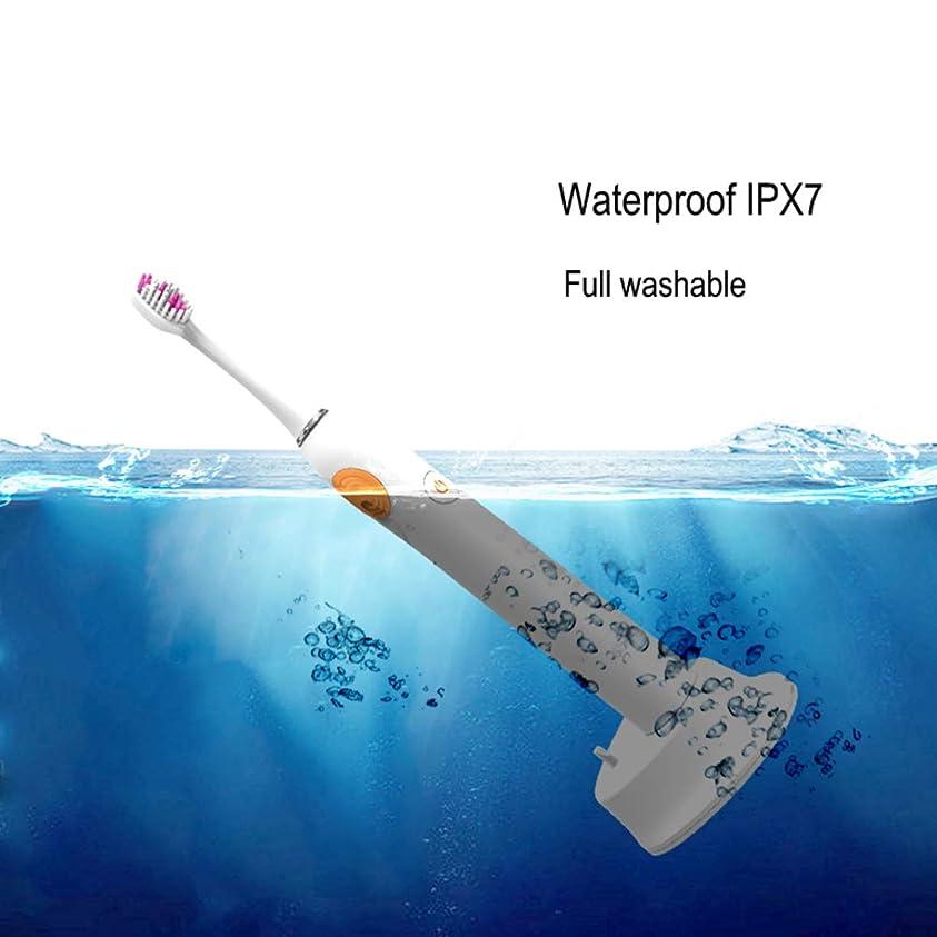 生産性インタラクション仕事に行く電動歯ブラシ、ソニック電動歯ブラシ、充電式ワイヤレスIPX7防水5分間スマートタイマー5つのブラッシングモード,White