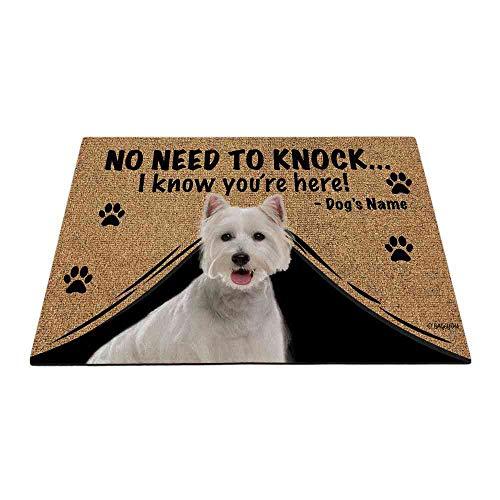 """BAGEYOU Felpudo personalizado con nombre de perro con mi amor perro Westie bienvenida alfombra de piso no necesita golpear I Know You Are Here, 23.6 x 15.7"""""""