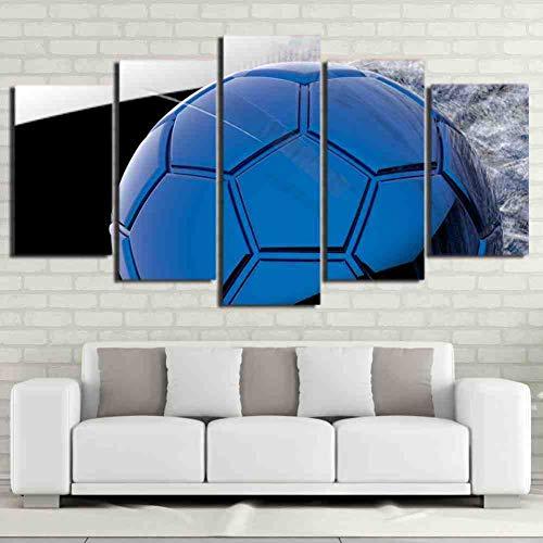 GIAOGE Kunst Leinwand Poster Stil Rahmen Bilder Wand Modulare 5 Panel Blau Fußball Für Wohnzimmer Cuadros Dekoration Moderne Malerei