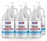 Sanit Moisturizing Hand Sanitizer Gel 70% Alcohol - Kills 99.99% Germs, Advanced Formula with Vitamin E and Aloe Vera - Soothing Gel, Fresh Scent, Made in USA - 64 oz with Pump 6 Pack