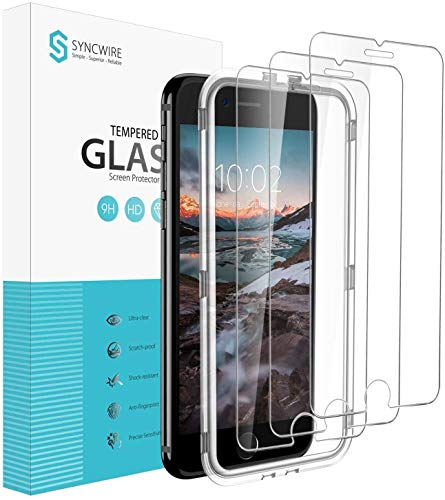 Syncwire Screen Protector for iPhone 8 Plus / 7 Plus [3-Pack], 9H Hardness Anti-Fingerprint Tempered Glass for iPhone 8 Plus/7 Plus [Screen-Alignment Frame Included, Bubble-Free, 3D-Touch Support]