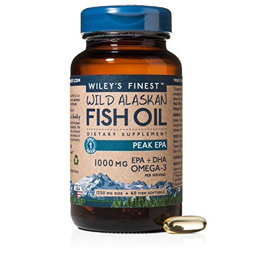 Wiley's Finest Wild Alaskan Fish Oil - 3X Triple Strength Peak EPA™ DHA, 1000mg Omega-3s, NSF-Certified, 60 Softgels