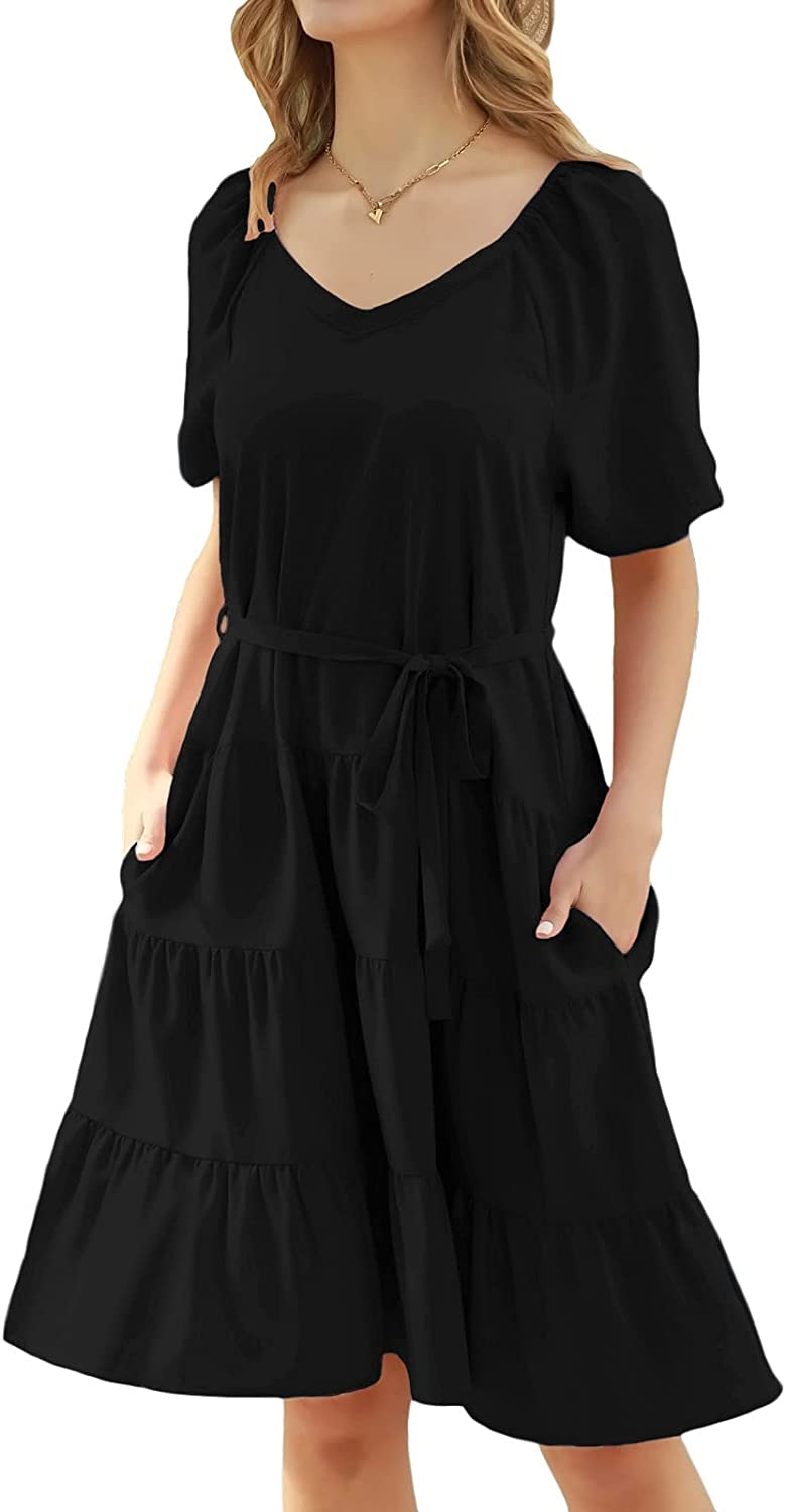 GRACE KARIN Women's Loose Babydoll Dress Tiered Ruffle Belted Dresses with Pockets