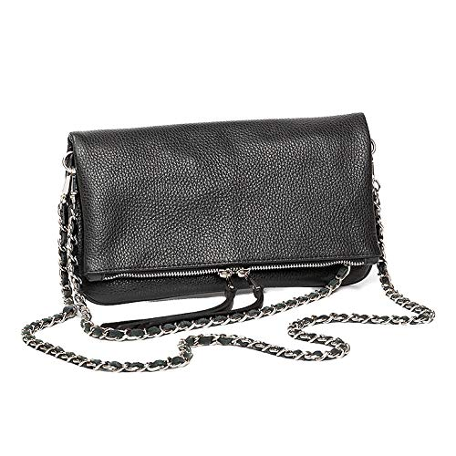 Black Double Chain Leather Bag