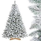 FairyTrees Árbol de Navidad Artificial, Pícea Natural con Nieve, PVC, Soporte de Madera, 180cm, FT13-180