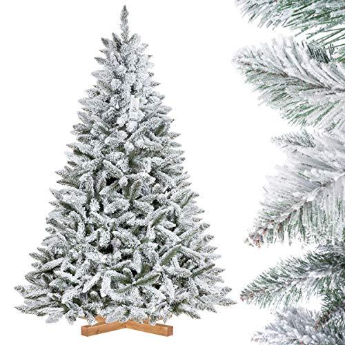 FAIRYTREES Sapin de Noël Artificiel, Épicéa Naturel Floqué, matériel PVC, Socle en Bois, 180cm, FT13-180