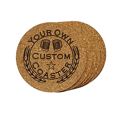 Cork Coaster Set of 6 Personalized Custom Engraved Logo. Great Gift, for Home Bar, Restaurant, Brewery, Homebrewer, complement Kegerator