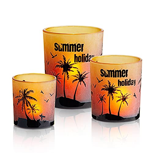 Summer Holiday Set of 3 Decorative Votive Candle Holders, Glass Tealight Holders -Size 3.15' & 3.94' & 4.92' High, Beach Island Pattern, Perfect for Home Decoration Party Events Gift (Green)