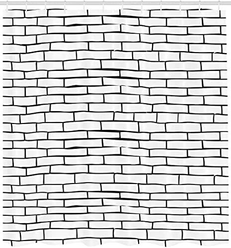 Duschvorhang Ziegel Wand Duschvorhang Schwarz & Weiß Handgezeichnete Steinmauer Design Urbane Architektur Stadtthema Badezimmer Dekor