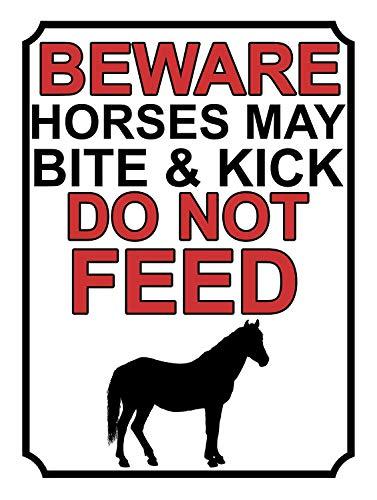 niet Pas op Paarden May Bite & Kick Do Feed Metalen tin teken schilderij decoratie Populaire IJzeren Schilderij Poster Voor bar cafe eetkamer house club
