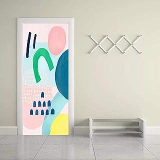 3D Porte Autocollant Sticker Porte Autocollant 3D Couleur Briques Tirant Porte Abstraite Aquarelle Décor À La Maison Pâte ...