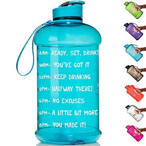 HydroMATE Half Gallon Motivational Water Bottle with Time Marker Large BPA Free Jug with Handle Reusable Leak Proof Bottle Time Marked to Drink More Water Daily 64oz (Turquoise)