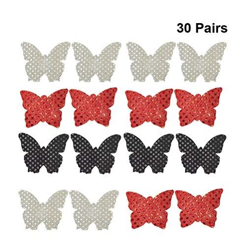 VALICLUD 30 Pares Cubre Pezones en Forma de Mariposa Pechugas Desechables Adhesivas Almohadillas Invisibles para El Pecho Pegatinas de Pechos Cubre El Cubierta sin Pezón para Mujeres (Rojo