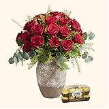 Pack Ramo de 24 rosas + Caja Ferrero Rocher - Ramo de flores naturales y Ferrero Rocher-Regalo San Valentín-Regalo Día de la Madre - Envío a domicilio 24h GRATIS - Tarjeta dedicatoria de regalo