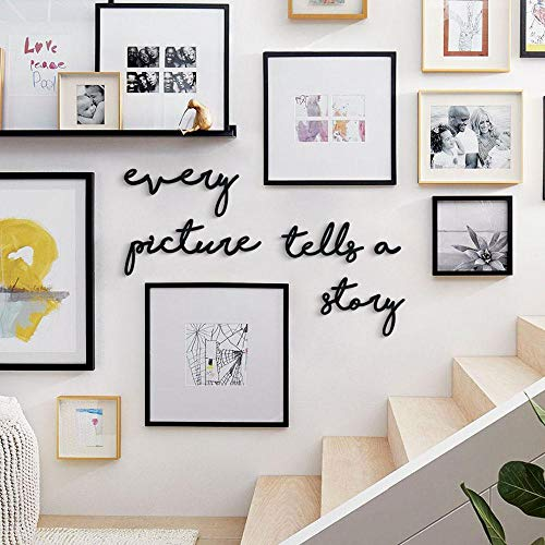 Hoagard Inspirational Wall Art - Signs | Every Picture Tells a Story | Metal Design 5 Pieces | Wall Quotes & Signs | Staircase, Bedroom, Living Room Wall Decoration