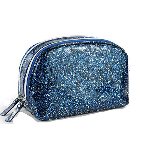 Kiki Paillettes Sac cosmétique Les Femmes des Sacs de Toilette Voyage Organisateur Maquillage Portable Pouch Case Salle de Bains Organisateur (Color : Blue)