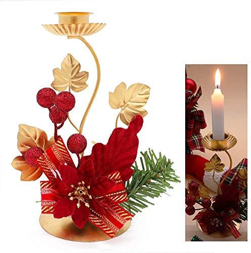 Unifree Portacandele Natalizio, Metallo Candeliere Ornamenti Decorativi Rossi con Glitter Poinsettia...