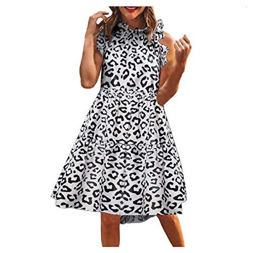 YANFANG Vestido Sin Mangas con Estampado De Leopardo para Mu