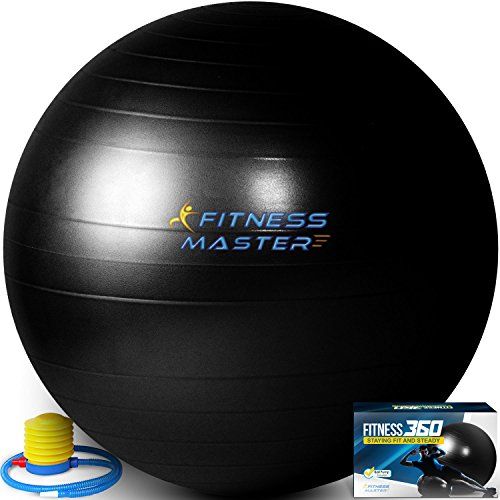 Exercise Ball - Anti Burst - Balance & Stability Ball to Help with Fitness Workout - for Pilates, Core, Tone and Ab - Free Pump