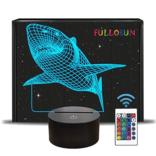 FULLOSUN 3D Illusion Lamp, Shark Night Light with Remote Control Optical Touch 16 Color Changing Desk Lamps Kids Room Decor Festival Birthday Present Gifts for Toddlers Boys Child