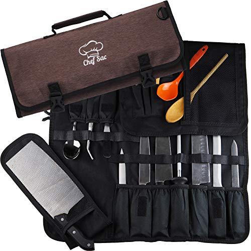 Rolltasche für Chefmesser, 8 + Taschen für Messer und Küchenutensilien, Netztaschen-Material, tolles Geschenk für Chefköche und kulinarische Studenten, Braun