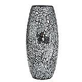 London Boutique Jarrón Decorativo de Mosaico Negro Hecho a Mano con Purpurina jarrón de Cristal Brillante Regalo Regalo (Negro)