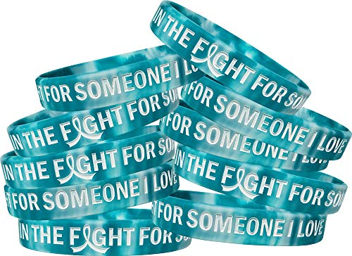 in The Fight for Someone I Love Cervical Cancer Wristband Bracelet 10-Pack (Teal, White)