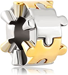925 Sterling Silver Autism Awareness Puzzle Piece Beads Sale Fit Pandora Charm Bracelets