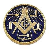 Working Tools Square & Compass Round Masonic Lapel Pin - [Blue & Gold][1'' Diameter]