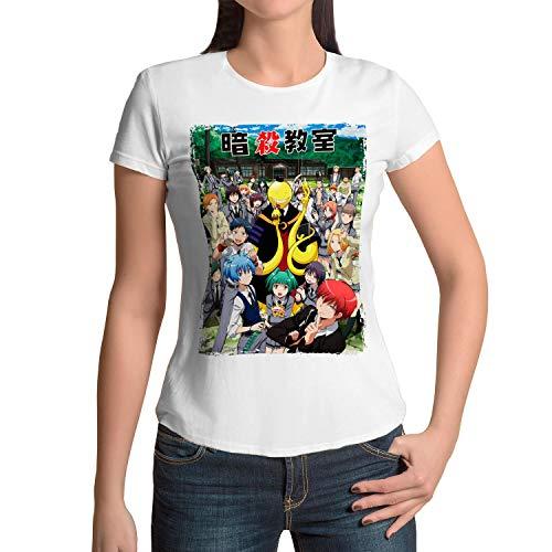 Camiseta Mujer Manga y Anime Assassination Classroom, Koro-Sensei (Blanco, S)