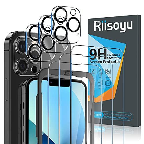 """Riisoyu 6 Piezas Protector Pantalla Compatible con iPhone 13 Pro Max (6.7""""), 3 Piezas Protector de Lente de Cámara y 3 Piezas Cristal Templado con Marco de Alineación, 9H Dureza Vidrio Templado HD"""