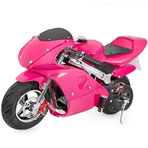 US Stock - 49cc Mini Gas Power Pocket Bike Motorcycle 4-Stroke Engine Motorcycle Holeshot Off Road Motorcycle for Kids Teenagers (Pink, 105x60x65cm)