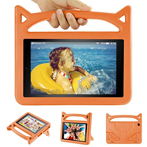 Kids Case for 10.1 inch Tablet(2019 Release) - Auorld Shock Proof Light Weight Convertible Handle Stand Kids Friendly Cover for 10 in Tablet(Orange)