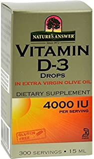 Nature's Answer Vitamin D-3 Drops - 4000 IU - 0.5 fl oz - Vital To Health and Well Being - Sugar Free by Nature's Answer