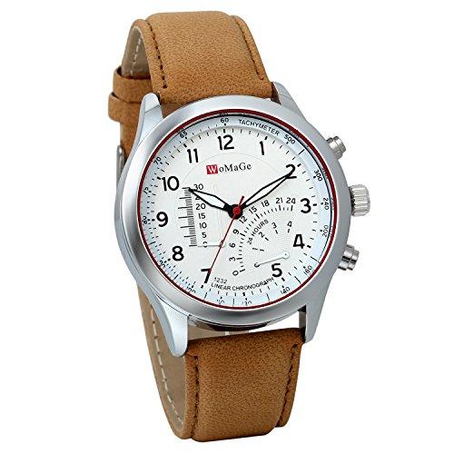 JewelryWe Herren Quarz Uhr Armbanduhr Herrenuhr Einzeigeruhr Leder Armband,24H Digital Zifferblatt Temperaturanzeige, Weiss