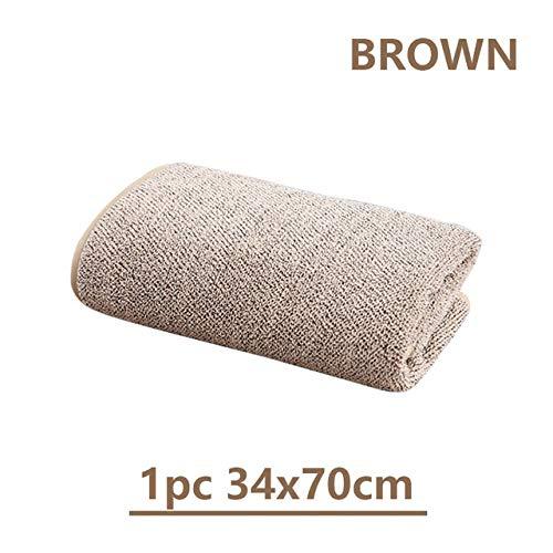 Xiaobing Toalla de baño de Lana de Coral de carbón de bambú para Adultos Toalla Absorbente Suave Juego de Toallas de baño - MARRÓN 1-como se Muestra
